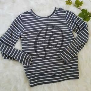 Obey Striped Heathered Gray Pull Over Sweatshirt